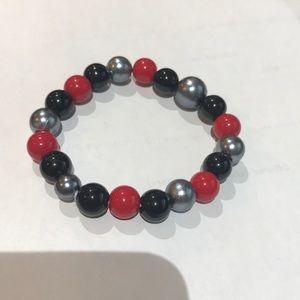 3/$25 Red/Black/Silver beaded elastic bracelet